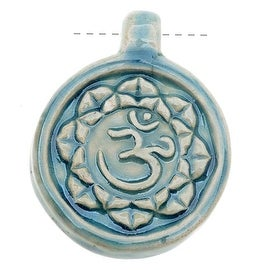 High Fire Ceramic Pendant - Aum Om Ohm Hindu Yoga 31x40mm (1)