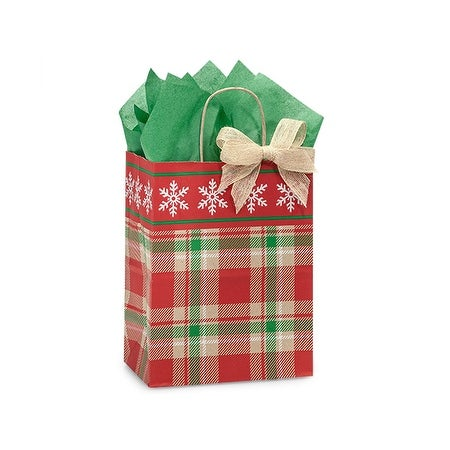 "Pack Of 250, Cub 8 X 4.75 X 10.25"" Christmas Plaid Snowflake Bags W/Kraft Paper Twist Handles Made In Usa"