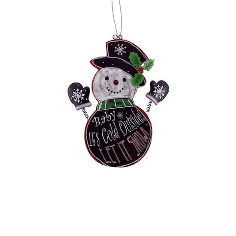 """9.5"""" Black and Red Hanging Snowman Christmas Wall Plaque"""