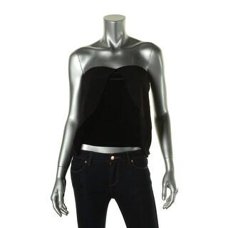 Zara Basic Womens Velvet Panel Strapless Crop Top