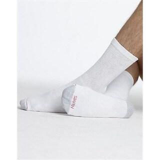 144V12 Men Big & Tall Crew Socks, 12-Pack Size 12-14, White