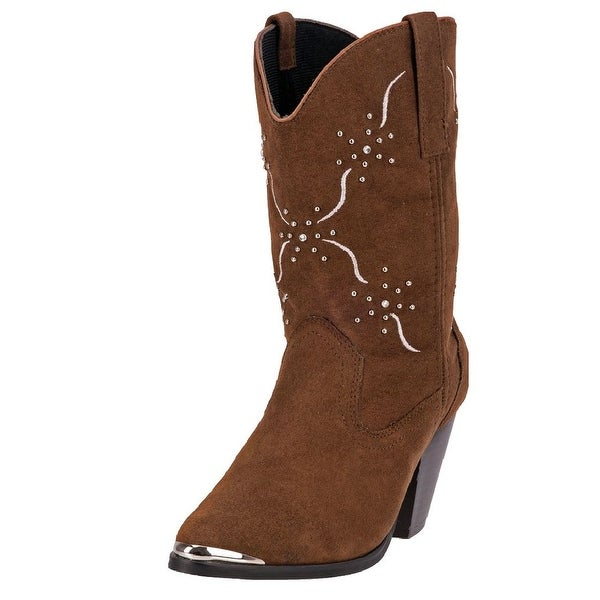 "Dingo Western Boots Women 10"" Studs Embroidered Chocolate DI 563"