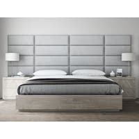 "VANT Upholstered Headboards - Accent Wall Panels - Packs Of 4 - Textured Cotton Weave Gray Mist - 39"" Wide x 11.5"" Height."