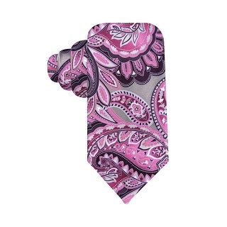 Geoffrey Beene Hand Made Printed Paisley Classic Silk Tie Purple and Grey