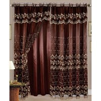 Aliya Embroidered Panel With Attached Valance And Backing, Coffee-Gold, 55x84 Inches