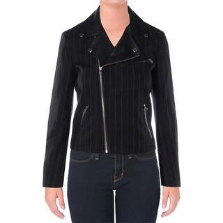 Lauren Ralph Lauren Womens Veronica Blazer Leather Trim Striped