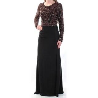 XSCAPE $249 Womens New 1092 Black Beaded Slitted Long Sleeve Sheath Dress 2 B+B