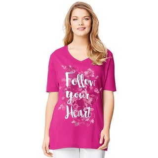 Just My Size Short-Sleeve V-Neck Women's Graphic Tee - Follow Your Heart Print