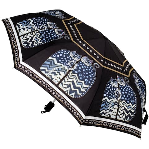 "Laurel Burch Compact Umbrella 42"" Canopy Auto Open/Close-Polka Dot Cats"