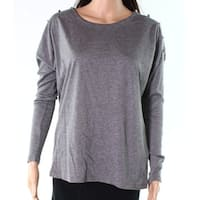 Lauren by Ralph Lauren Gray Womens Medium M Button Shoulder Blouse