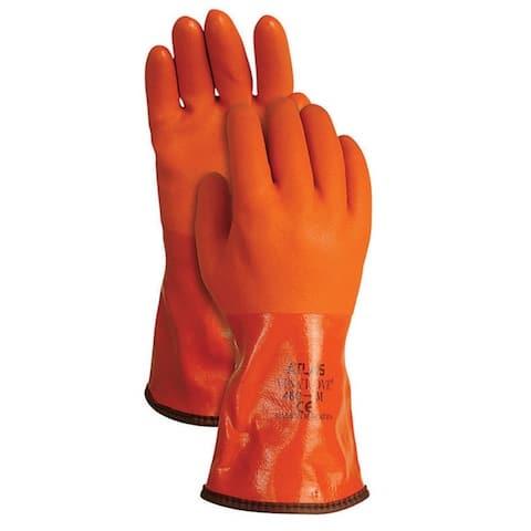 Atlas 460M-08.RT Universal Medium PVC Snow Blower Gloves, Orange