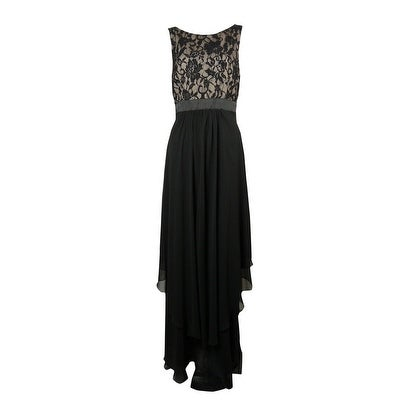 e8e18981679f Shop Betsy & Adam Women's V-Neck Lace Tiered Chiffon Dress - Black/Nude -  10 - Free Shipping On Orders Over $45 - Overstock - 15017951