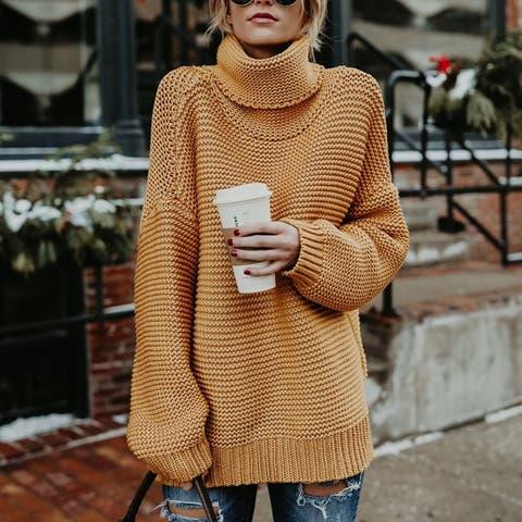 Womens Sweater Vintage Twist Knit Long Sleeve Roll Neck Jumper Sweater Pullover