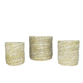 Set of 3 Seaside Treasures Decorative White Rivergrass Round Storage Baskets 9.5""