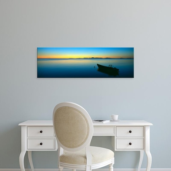 Easy Art Prints Panoramic Image 'Boat moored in Chukchi Sea at sunset, distant Mulgrave Hills, Alaska.' Canvas Art