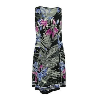 NY Collection Women's Sleeveless Jersey Shift Dress - Black/multi - 1x