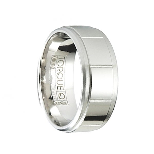 CRUZ Polished Cobalt Wedding Ring with Grooved Pattern & Brushed Beveled Edges by Crown Ring - 9mm