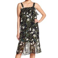 Bobeau Black Womens Size XS Floral-Print Ruffled Sheath Dress