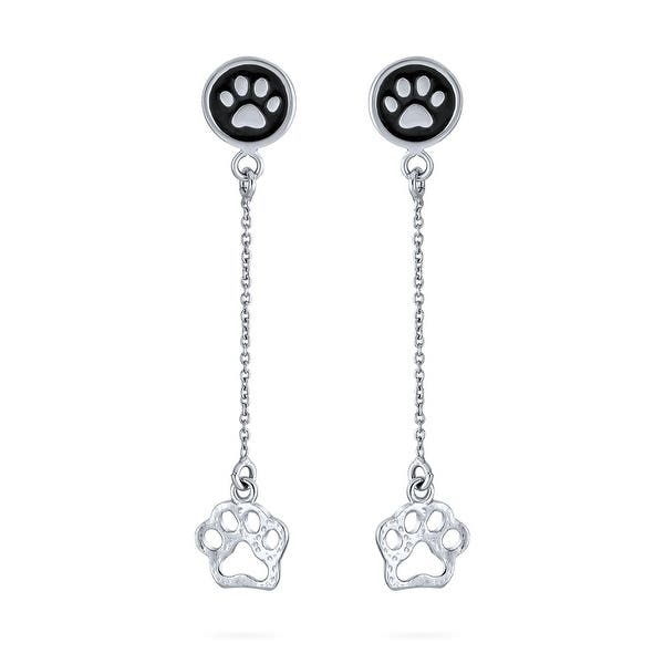 925 Sterling Silver Adorable Cut Out PAW PRINT Dangle Earrings