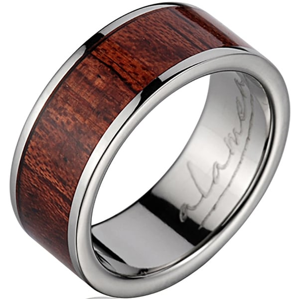 Titanium Wedding Band With Koa Wood Inlay 8 mm