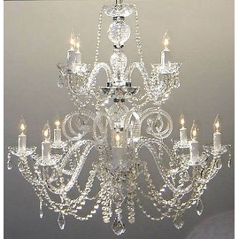 Authentic All Crystal Chandelier Lighting H30 x W28