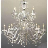Petite French Swarovski Crystal Trimmed Chandelier Lighting H30 x W28