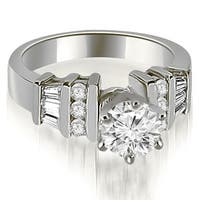 1.00 cttw. 14K White Gold Round and Baguette Cut Diamond Engagement Ring