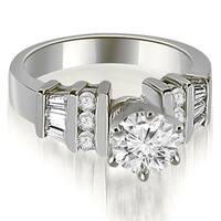 1.50 cttw. 14K White Gold Round and Baguette Cut Diamond Engagement Ring