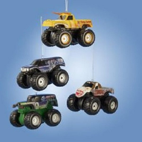 "3.5"" Monster Jam Miniature Blue ""Lucas Crusader"" Decked Out Truck Christmas Ornament"
