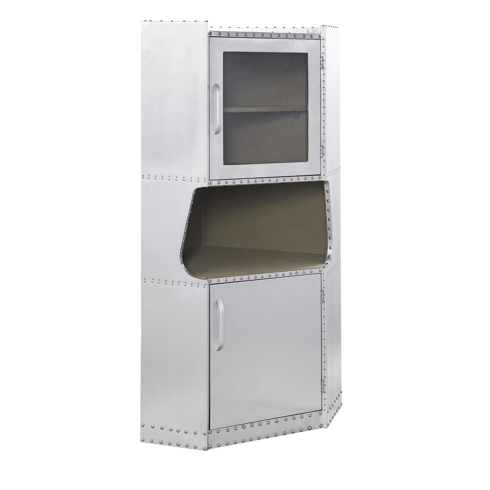 Overstock 2 Door Aluminum Cabinet with Open Compartment and Rivet Accents, Silver (Silver)