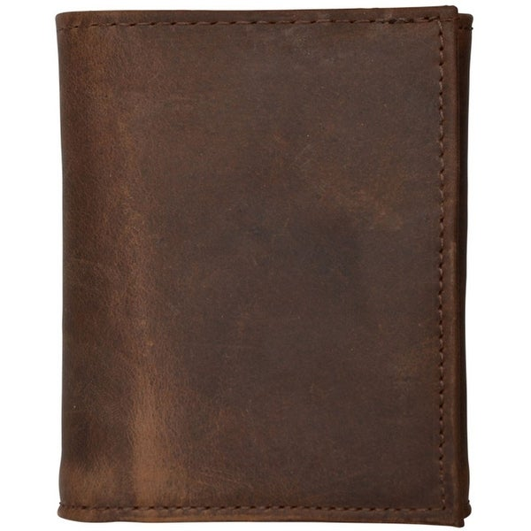3D Western Wallet Mens Leather Trifold Basic Dark Brown - One size