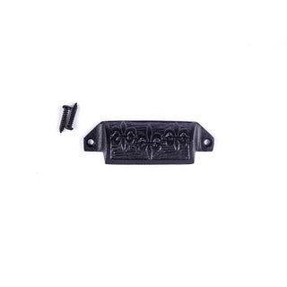 Cabinet or Drawer Bin Pull Black Iron Cup 4 W x 1 1/2 H Pack of 6