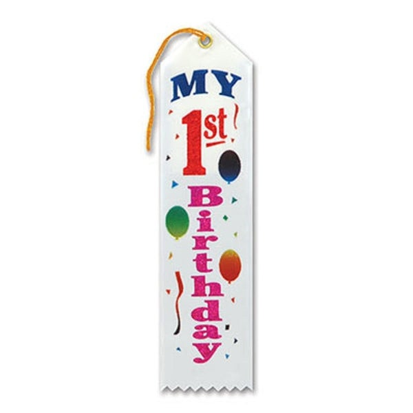 "Pack of 6 White ""My 1st Birthday Award"" School Award Ribbon Bookmarks 8"""