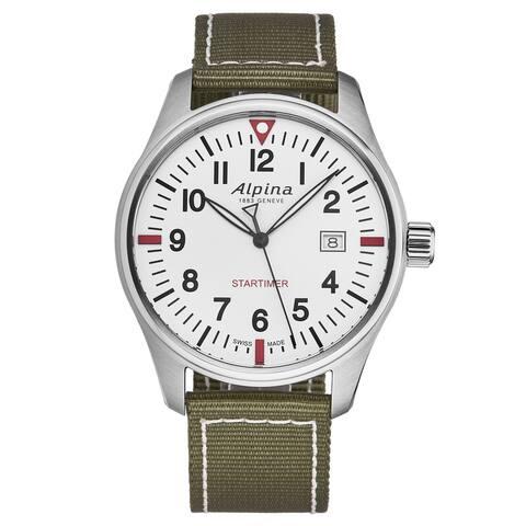 Alpina mens 'startimer pilot' white dial green nylon strap swiss quartz watch al-240s4s6