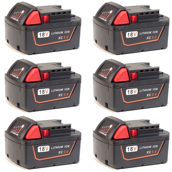 Replacement for Milwaukee M18 / 48-11-1850 Power Tools Battery - 5000mAh (6 Pack)