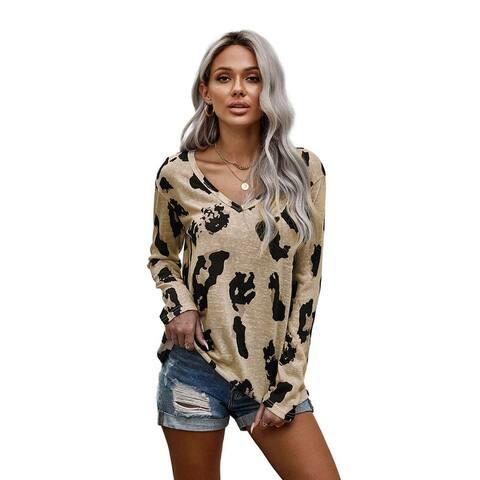 Cali Chic Women's Long Sleeve Shirt Celebrity Leopard Print Blouse