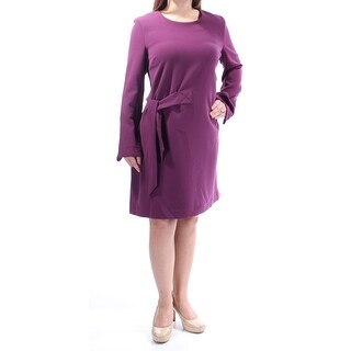 Womens Purple Long Sleeve Above The Knee Casual Dress Size: 12