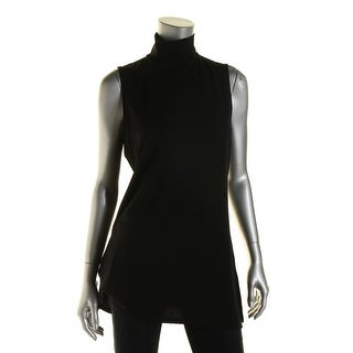 Lauren Ralph Lauren Womens Tunic Top Mock Turtleneck Side Slit