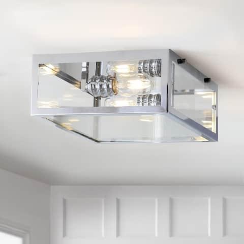 "Grayson 12"" Metal/Glass LED Flush Mount, Chrome/Clear by JONATHAN Y"