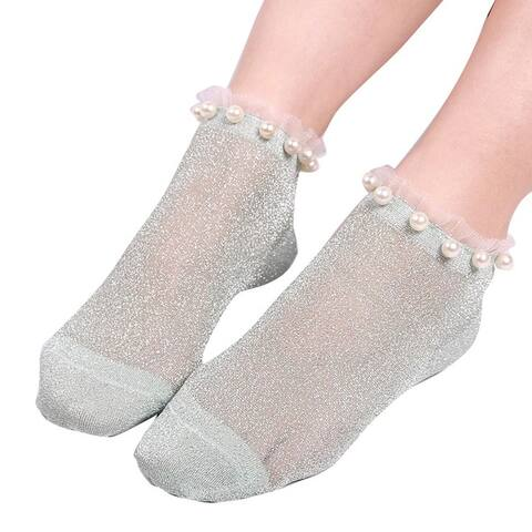 Sexy Women Faux Pearl Glitter Transparent Low Cut Elastic Short Ankle Socks