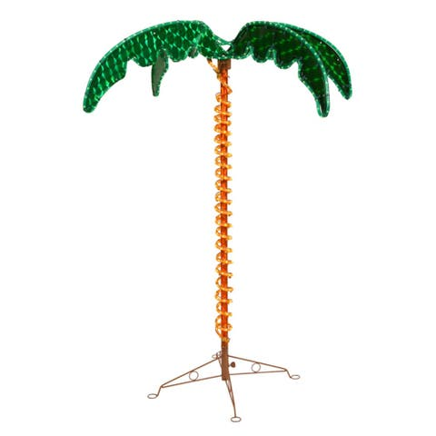 4.5' Green and Yellow Tropical Holographic LED Rope Lighted Palm Tree