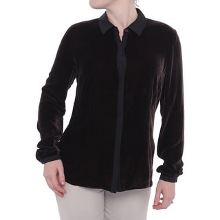 Lafayette 148 New York Velour Long Sleeve Button Down Women Button Down
