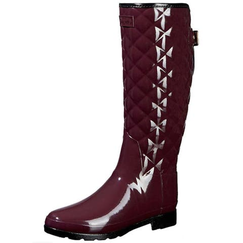 Hunter Womens Refined High Gloss Quilted Closed Toe Mid-Calf Rainboots - 8