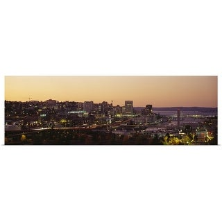 """""""Aerial view of a cityscape, Tacoma, Pierce County, Washington State"""" Poster Print"""