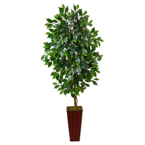 """5' Ficus Artificial Tree in Bamboo Planter - 15"""""""
