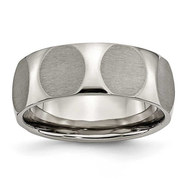 Chisel Faceted Brushed Titanium Ring (8.0 mm)