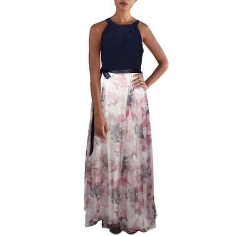SLNY Womens Formal Dress Mixed Media Tie Front - Pink/Navy