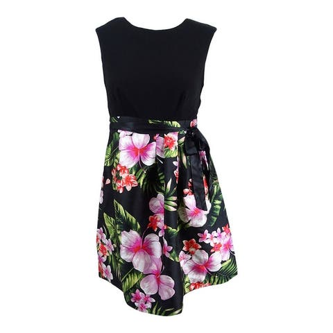 Sangria Women's Floral-Print Fit & Flare Dress - Black/Multi