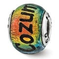 Sterling Silver Reflections Cozumel Orange Dichroic Glass Bead (4mm Diameter Hole) - Thumbnail 0