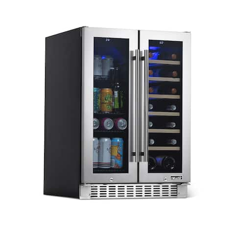 NewAir 24 Built-in Dual Zone 18 Bottle and 58 Can French Door Wine and Beverage Fridge